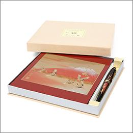 蒔絵 富士に鶴 ステーショナリー2点セット(マウスパッド・ボールペン)