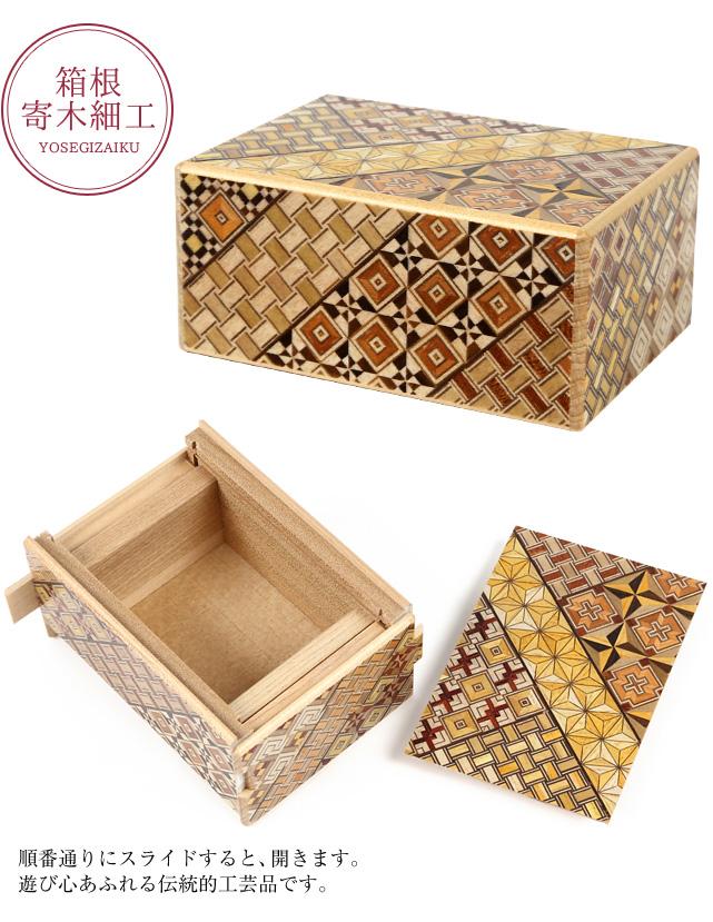 順番通りにスライドすると、開きます。遊び心あふれる伝統的工芸品寄木細工 TRICK BOX